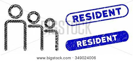 Mosaic Trio And Rubber Stamp Seals With Resident Text. Mosaic Vector Trio Is Designed With Scattered
