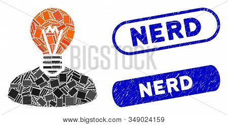 Mosaic Inventor And Grunge Stamp Seals With Nerd Text. Mosaic Vector Inventor Is Designed With Rando