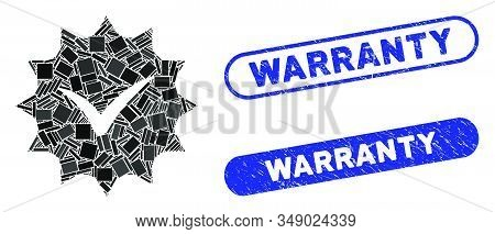 Mosaic Warranty Tag And Corroded Stamp Seals With Warranty Phrase. Mosaic Vector Warranty Tag Is For