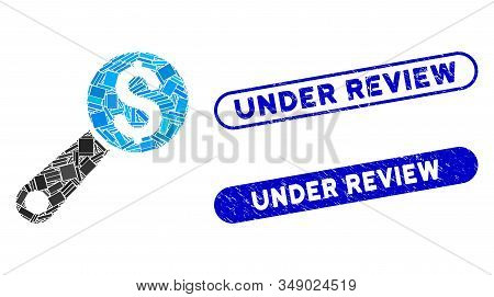 Mosaic Financial Audit And Distressed Stamp Seals With Under Review Caption. Mosaic Vector Financial