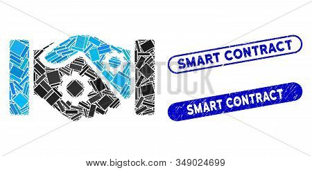 Mosaic Smart Contract Handshake And Grunge Stamp Seals With Smart Contract Phrase. Mosaic Vector Sma