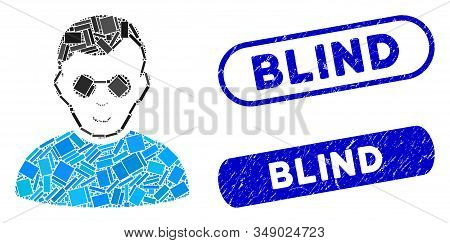 Mosaic Blind Man And Distressed Stamp Watermarks With Blind Text. Mosaic Vector Blind Man Is Compose