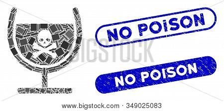 Mosaic Poison Glass And Grunge Stamp Seals With No Poison Phrase. Mosaic Vector Poison Glass Is Desi