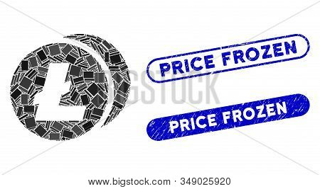Mosaic Litecoins And Distressed Stamp Seals With Price Frozen Phrase. Mosaic Vector Litecoins Is For