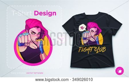 T-shirt Design With Angry Boxing Girl With Blue Boxing Bandages, And Red Hair. Anime Style Illustrat