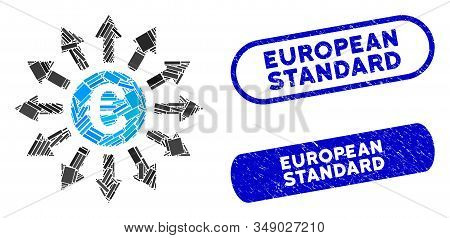 Mosaic Euro Payments And Grunge Stamp Seals With European Standard Caption. Mosaic Vector Euro Payme