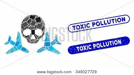 Mosaic Mortal Airplanes And Corroded Stamp Seals With Toxic Pollution Phrase. Mosaic Vector Mortal A
