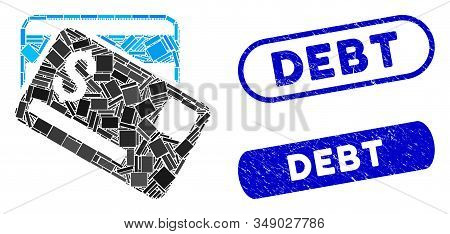 Mosaic Credit Cards And Corroded Stamp Seals With Debt Caption. Mosaic Vector Credit Cards Is Create