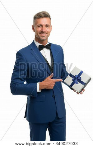 Happy Businessman Hold Present In Hand. Generosity Concept. Birthday Holiday. Shopping Mall. Gift Pa