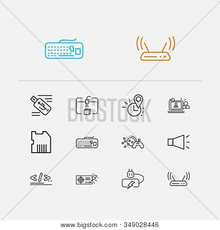 Technology Icons Set. Steamroller And Technology Icons With Flash Drive, Computer Battery And Power