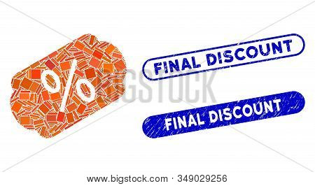 Mosaic Discount Label And Corroded Stamp Watermarks With Final Discount Caption. Mosaic Vector Disco
