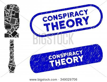 Mosaic Screwdriver And Rubber Stamp Seals With Conspiracy Theory Caption. Mosaic Vector Screwdriver