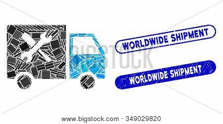 Collage Service Van And Rubber Stamp Seals With Worldwide Shipment Caption. Mosaic Vector Service Va