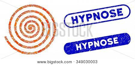Mosaic Hypnosis And Corroded Stamp Watermarks With Hypnose Caption. Mosaic Vector Hypnosis Is Formed