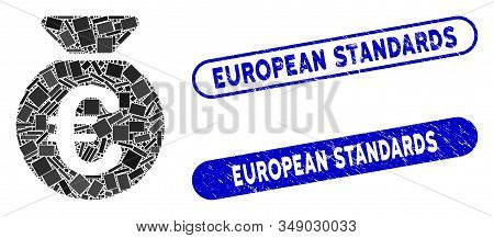 Collage Euro Money Bag And Rubber Stamp Seals With European Standards Text. Mosaic Vector Euro Money