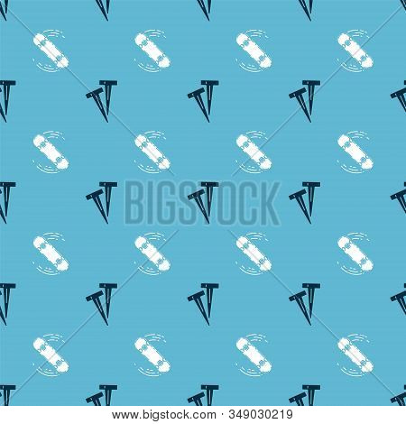 Set Pegs For Tents And Skateboard Trick On Seamless Pattern. Vector
