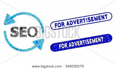 Mosaic Seo Process And Corroded Stamp Seals With For Advertisement Text. Mosaic Vector Seo Process I