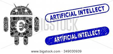 Mosaic Euro Robot And Rubber Stamp Watermarks With Artificial Intellect Phrase. Mosaic Vector Euro R