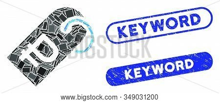 Mosaic Rouble Token And Distressed Stamp Seals With Keyword Phrase. Mosaic Vector Rouble Token Is Cr