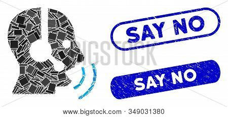 Mosaic Operator Speech Sound Waves And Distressed Stamp Seals With Say No Text. Mosaic Vector Operat