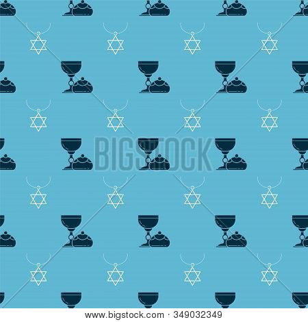 Set Jewish Goblet And Hanukkah Sufganiyot And Star Of David Necklace On Chain On Seamless Pattern. V
