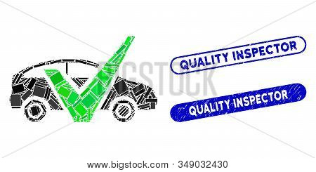 Mosaic Approved Car And Grunge Stamp Watermarks With Quality Inspector Caption. Mosaic Vector Approv