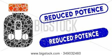 Collage Male Medicine And Distressed Stamp Seals With Reduced Potence Caption. Mosaic Vector Male Me