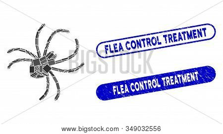 Mosaic Parasite Spider And Rubber Stamp Seals With Flea Control Treatment Phrase. Mosaic Vector Para