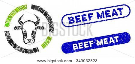 Mosaic Cow Diagram And Grunge Stamp Seals With Beef Meat Caption. Mosaic Vector Cow Diagram Is Forme