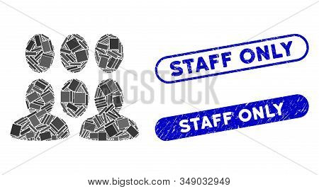 Mosaic Auditory And Distressed Stamp Seals With Staff Only Caption. Mosaic Vector Auditory Is Create
