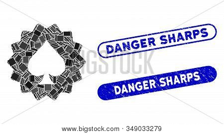 Mosaic Spades Token And Distressed Stamp Seals With Danger Sharps Phrase. Mosaic Vector Spades Token