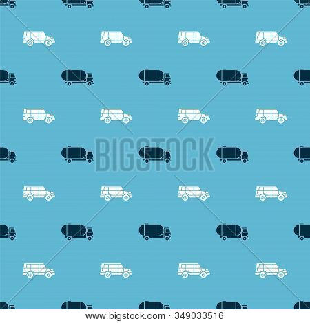 Set Tanker Truck And Off Road Car On Seamless Pattern. Vector
