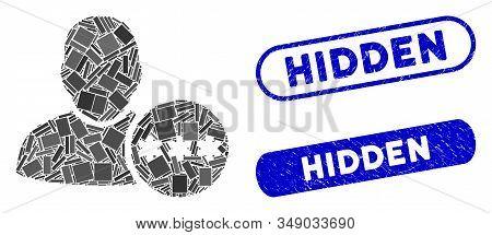 Mosaic User Hidden Password And Distressed Stamp Seals With Hidden Phrase. Mosaic Vector User Hidden