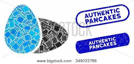 Mosaic Eggs And Distressed Stamp Seals With Authentic Pancakes Text. Mosaic Vector Eggs Is Formed Wi