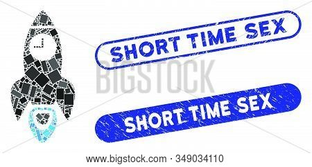 Mosaic Space Rocket Time And Grunge Stamp Seals With Short Time Sex Text. Mosaic Vector Space Rocket