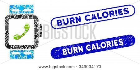 Mosaic Smart Watch And Corroded Stamp Seals With Burn Calories Text. Mosaic Vector Smart Watch Is De