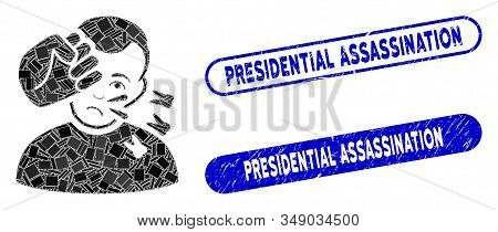 Mosaic Head Strike And Corroded Stamp Seals With Presidential Assassination Caption. Mosaic Vector H