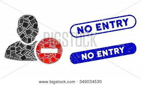 Mosaic Remove User And Distressed Stamp Watermarks With No Entry Phrase. Mosaic Vector Remove User I