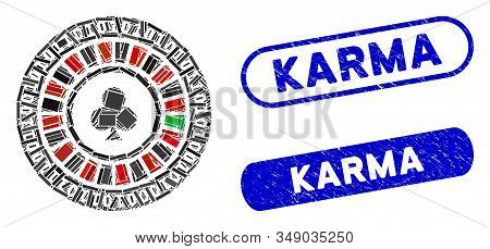 Mosaic Digital Casino Roulette And Corroded Stamp Seals With Karma Text. Mosaic Vector Digital Casin
