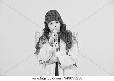 Decide. Adorable Schoolgirl Winter Outfit. Schoolgirl Daily Outfit With Backpack. Fashion Accessory.