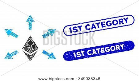 Mosaic Ethereum Emission And Grunge Stamp Watermarks With 1st Category Text. Mosaic Vector Ethereum