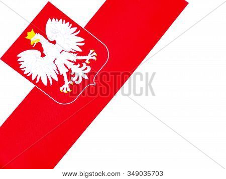 State Flag And Coat Of Arms Of Poland On A White Background.