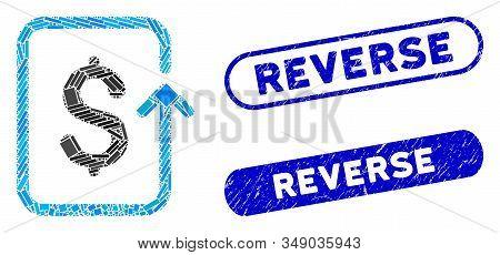 Mosaic Reverse Transaction And Grunge Stamp Seals With Reverse Caption. Mosaic Vector Reverse Transa
