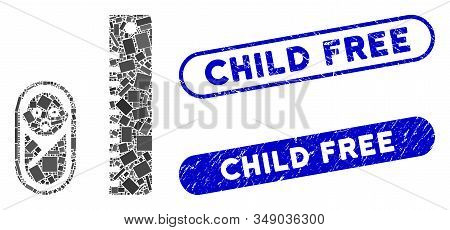 Mosaic Baby Height And Grunge Stamp Seals With Child Free Phrase. Mosaic Vector Baby Height Is Compo