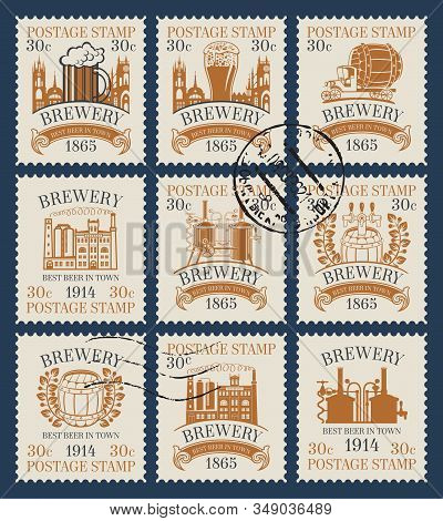 Vector Set Of Old Postage Stamps On The Theme Of Beer And Brewery. Philatelic Collection Of Stamps W