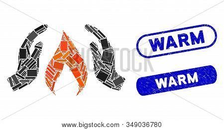 Mosaic Warm Up Hands And Corroded Stamp Seals With Warm Text. Mosaic Vector Warm Up Hands Is Formed