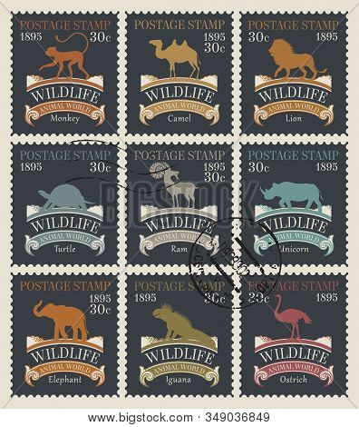Vector Set Of Old Postage Stamps On The Theme Of Animals And Wildlife With Postmarks In Retro Style.