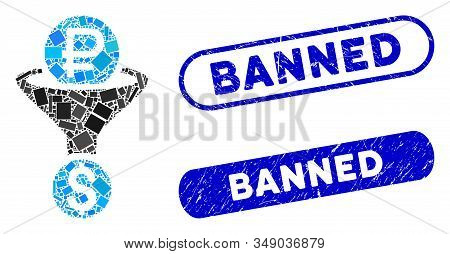 Mosaic Rouble Currency Conversion And Grunge Stamp Seals With Banned Text. Mosaic Vector Rouble Curr