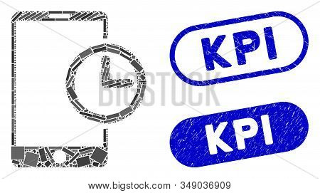 Mosaic Smartphone Time And Distressed Stamp Seals With Kpi Caption. Mosaic Vector Smartphone Time Is