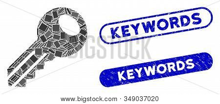 Collage Key And Distressed Stamp Seals With Keywords Text. Mosaic Vector Key Is Designed With Random
